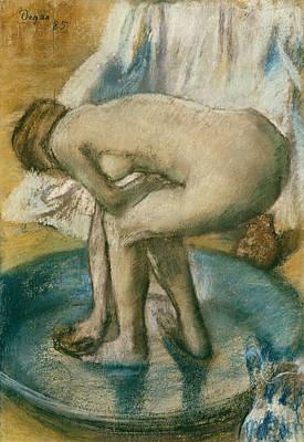 Drawing - Woman Bathing In A Shallow Tub by Edgar Degas