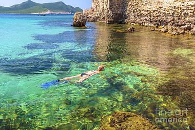 Woman Bikini Snorkeling Art Print