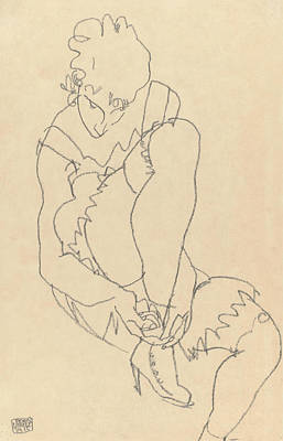 Drawing - Woman Buttoning Her Shoes by Egon Schiele