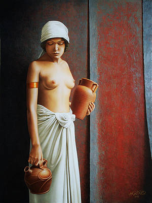 Clay Painting - Woman Carrying Vases by Horacio Cardozo