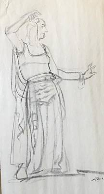 Drawing - Woman Dancing by Alejandro Lopez-Tasso