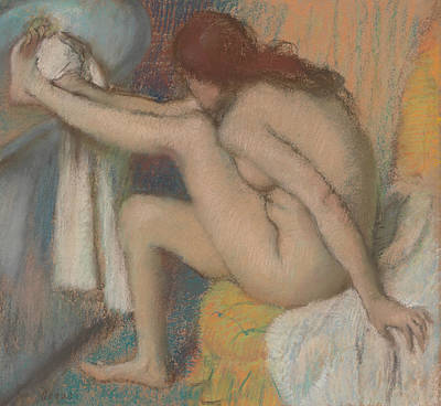 Pastel - Woman Drying Her Foot by Edgar Degas