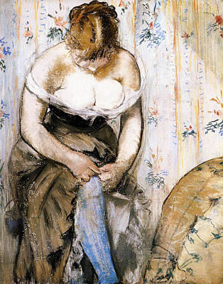 Dressing Painting - Woman Fastening Her Garter by Edouard Manet