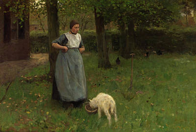 Lamb Painting - Woman From Laren With Lamb by Anton Mauve