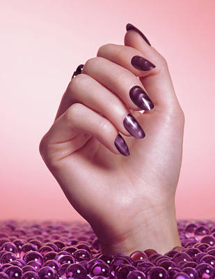 Woman Hand With Purple Nail Polish Print by Oleksiy Maksymenko