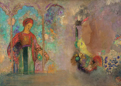 Profile Painting - Woman In A Gothic Arcade - Woman With Flowers by Odilon Redon