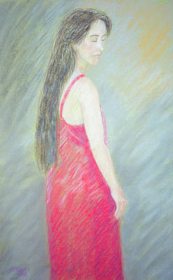 Pastel - Woman In Red Dress by Masami Iida