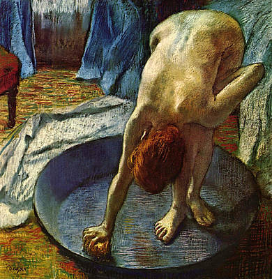 Make-up Painting - Woman In The Bathtub by Edgar Degas