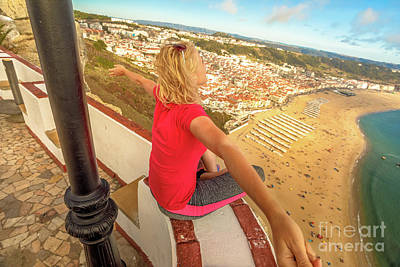 Photograph - Woman Nazare Landscape by Benny Marty