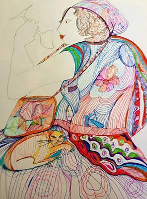 Wall Art - Drawing - Woman On Train by Rosalinde Reece