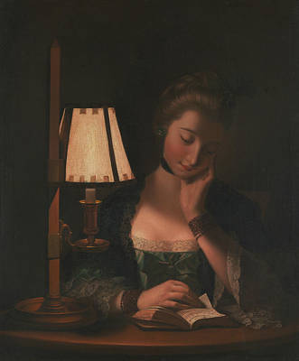 Painting - Woman Reading By A Paper-bell Shade by Treasury Classics Art