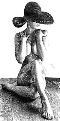 Digital Art - Woman Sketch In Black And White by Rafael Salazar