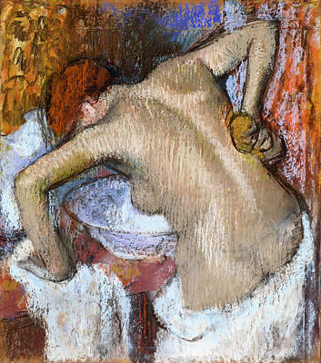 Pastel - Woman Sponging Her Back by Edgar Degas
