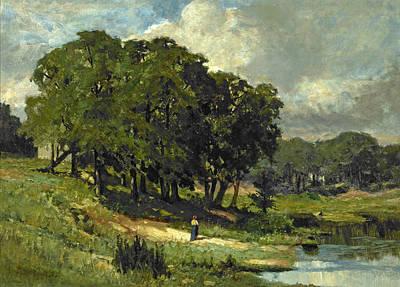 Woman Standing Near A Pond Art Print by Edward Mitchell Bannister