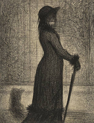 Impressionism Drawing - Woman Strolling by Georges Pierre Seurat