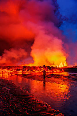 Woman Watching The Lava Flow Art Print by Panoramic Images