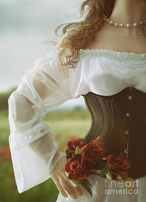 Photograph - Woman Wearing Black With Corset by Sandra Cunningham
