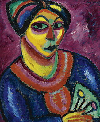 Painting - Woman With A Green Fan by Alexej von Jawlensky