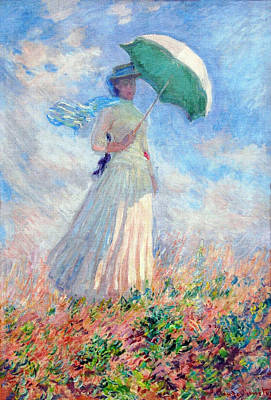 Umbrella Painting - Woman With A Parasol, Turned To The Right by Claude Monet