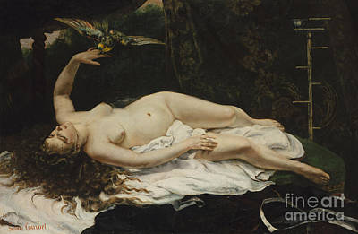 Provocative Painting - Woman With A Parrot, 1866 by Gustave Courbet