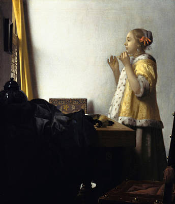 Painting - Woman With A Pearl Necklace by Johannes Vermeer
