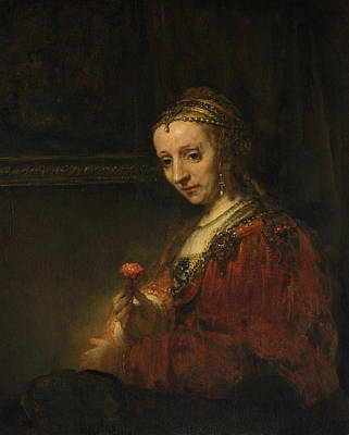 Miss Painting - Woman With A Pink by Rembrandt van Rijn