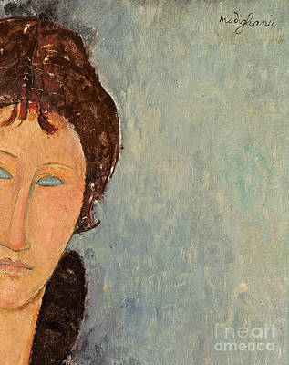Primitive Art Painting - Woman With Blue Eyes by Amedeo Modigliani