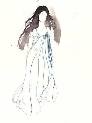 Model Drawing - Woman With Dress From Chloe by Toril Baekmark