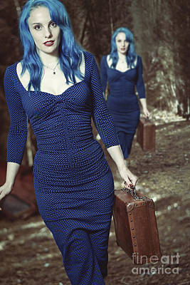 Two Ladies Photograph - Woman With Suitcase by Amanda Elwell