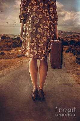 Woman With Suitcase Art Print by Mythja Photography