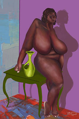 Digital Art - Woman With Vase by David James