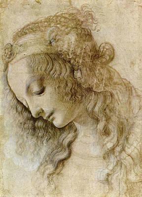 Closeup Drawing - Woman's Head by Leonardo da Vinci