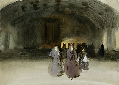 Drawing - Women Approaching by John Singer Sargent
