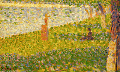 Jatte Painting - Women On The River Bank by Georges Pierre Seurat