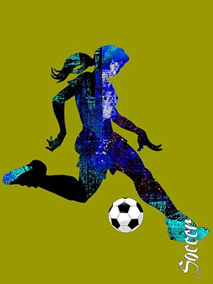 Mixed Media - Womens Girls Soccer Collection by Marvin Blaine