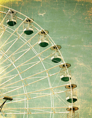 Photograph - Wonder Wheel And Plane Series 3 Green by Marianne Campolongo