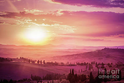 Photograph - Wonderful Tuscany Landscape With Cypress Trees, Farms And Medieval Towns, Italy. Pink And Purple Sunset by Michal Bednarek