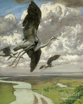 Soaring Painting - Wondrous Birds by Hans Thoma