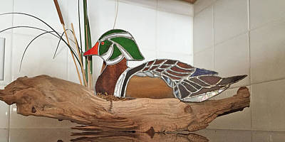 Glass Art - Wood Duck by Donald Paczynski