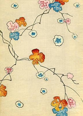 Book Covers Drawing - Woodblock Print Of Fall Leaves by Japanese School