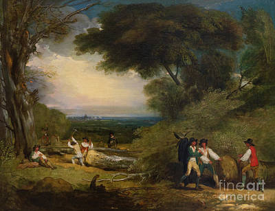 Painting - Woodcutters In Windsor Park by Benjamin West