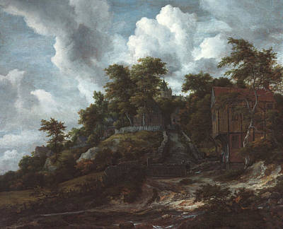 Building Painting - Wooded Hillside With A View Of Bentheim Castle by Jacob van Ruisdael