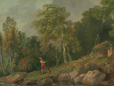 Wooded Landscape With A Boy And His Dog Art Print