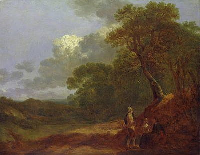 Royal Painting - Wooded Landscape With A Man Talking To Two Seated Women by Thomas Gainsborough