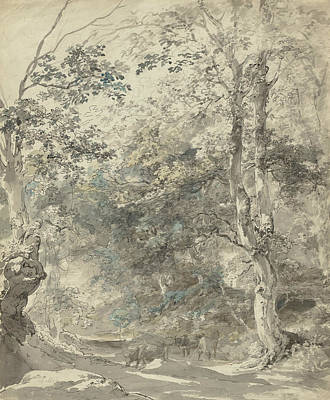 Drawing - Wooded Landscape With Cows by Johann Georg von Dillis