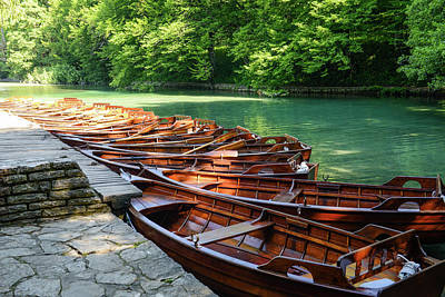 Forest Photograph - Wooden Boats On Plitvice Lakes In Croatia by Brandon Bourdages