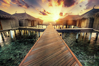 Hot Photograph - Wooden Jetty And Water Villas. Maldives Island Resort At Sunset by Michal Bednarek