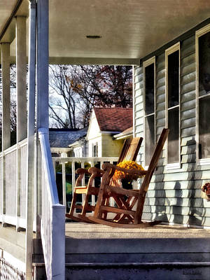 Photograph - Wooden Rocking Chairs On Porch by Susan Savad