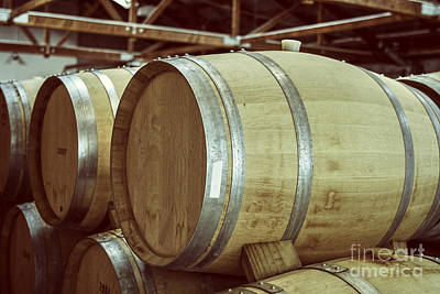 Photograph - Wooden Wine Barrels by Patricia Hofmeester