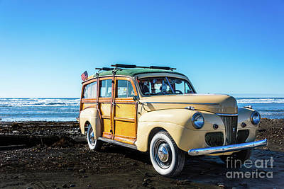 Photograph - Woodie Parked On Cardiff-by-the-sea Beach by David Levin